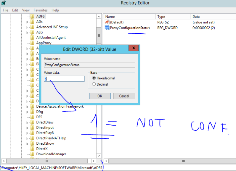 How to re-configure ADFS Proxy Server which reports problems